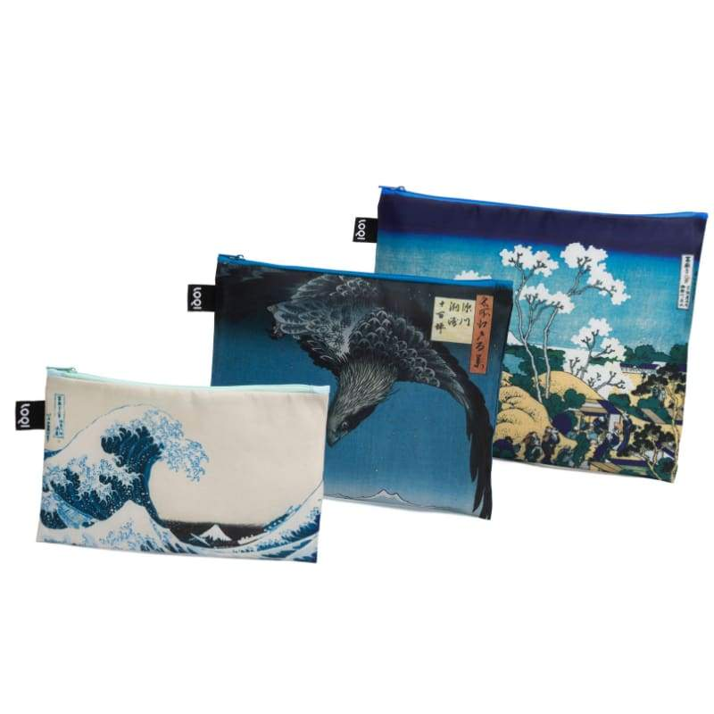 Loqi Zip Pocket (Set Of 3) Museum Collection Hokusai,Pouches, Loqi - Yum Yum Store