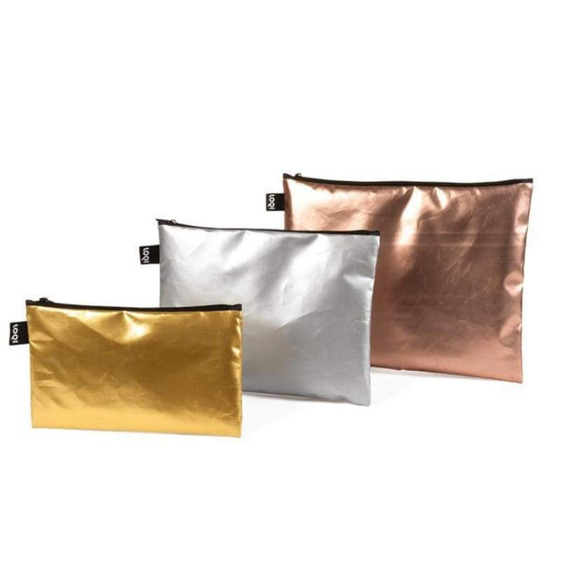 Loqi Zip Pockets (Set of 3) Metallic Matt,Pouches, Loqi - Yum Yum Store