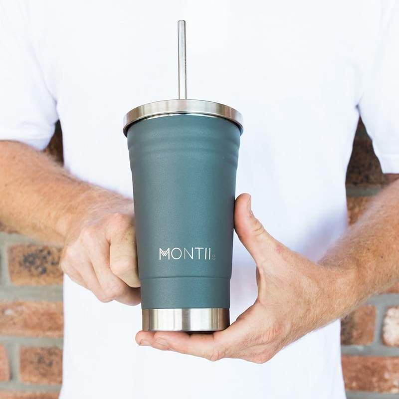 Montii Co. Insulated Smoothie Cup 450ml Grey,Reusable Tumbler, Montii - Yum Yum Store