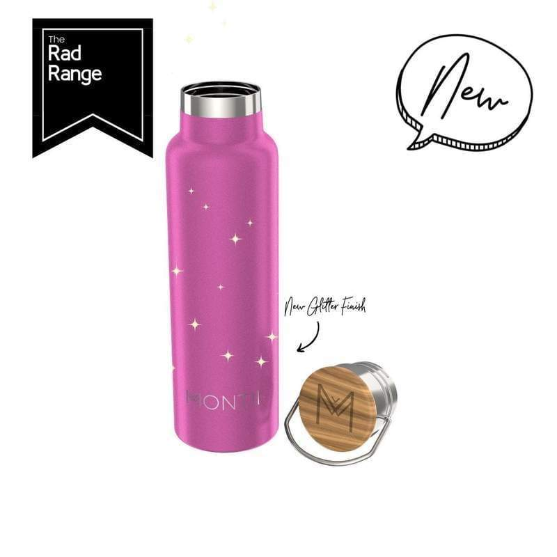 Montii Co. Insulated Water Bottle 600ml Bright Pink Glitter