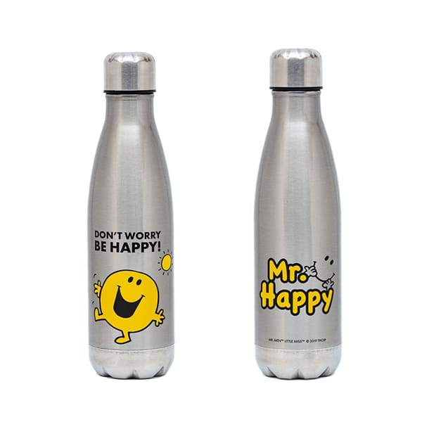 Mr Happy Insulated Stainless Steel Bottle,Stainless Steel Water Bottle, Mr Men & Lil Miss - Yum Yum Store