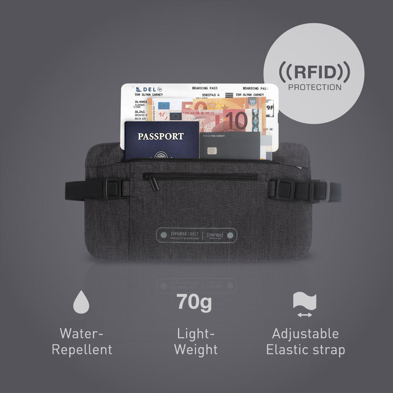 Alife Design Zipurse Money Belt RFID Protection