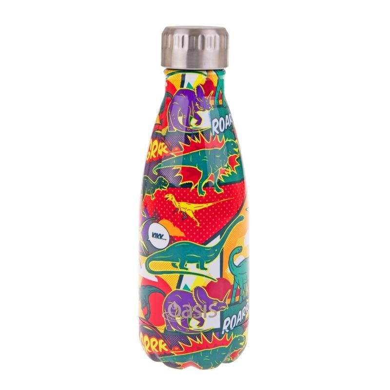 Oasis Stainless Steel Insulated Drink Bottle 350ml Dinosaurs,Stainless Steel Water Bottle, Oasis - Yum Yum Store
