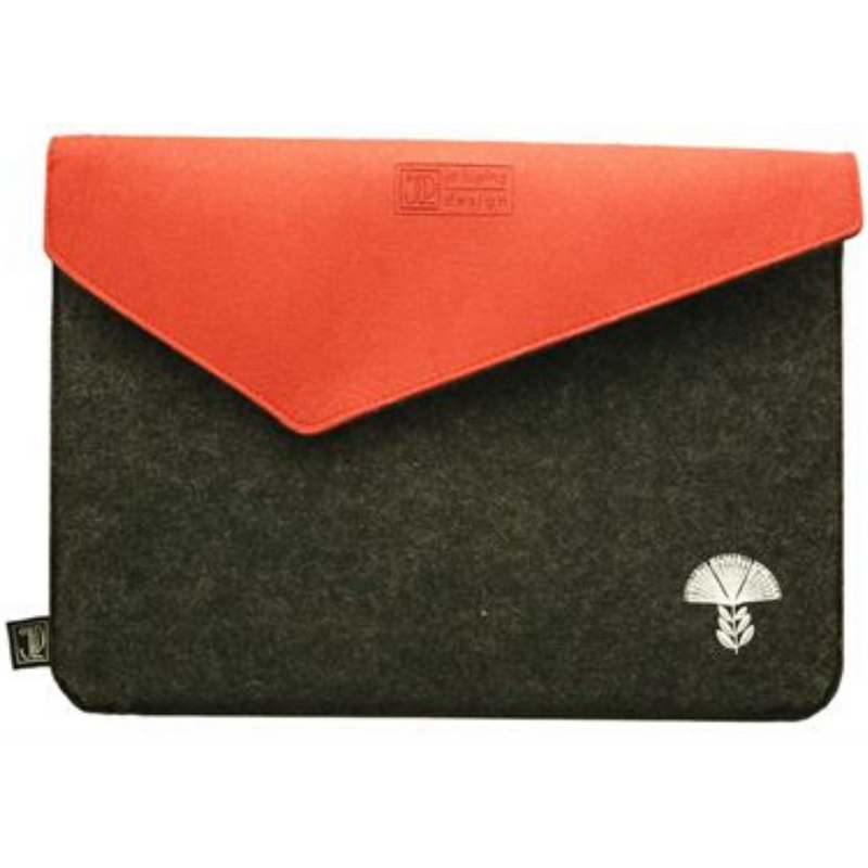 Jo Luping Design - Pohutukawa Grey & Red - Ecofelt Laptop Bag