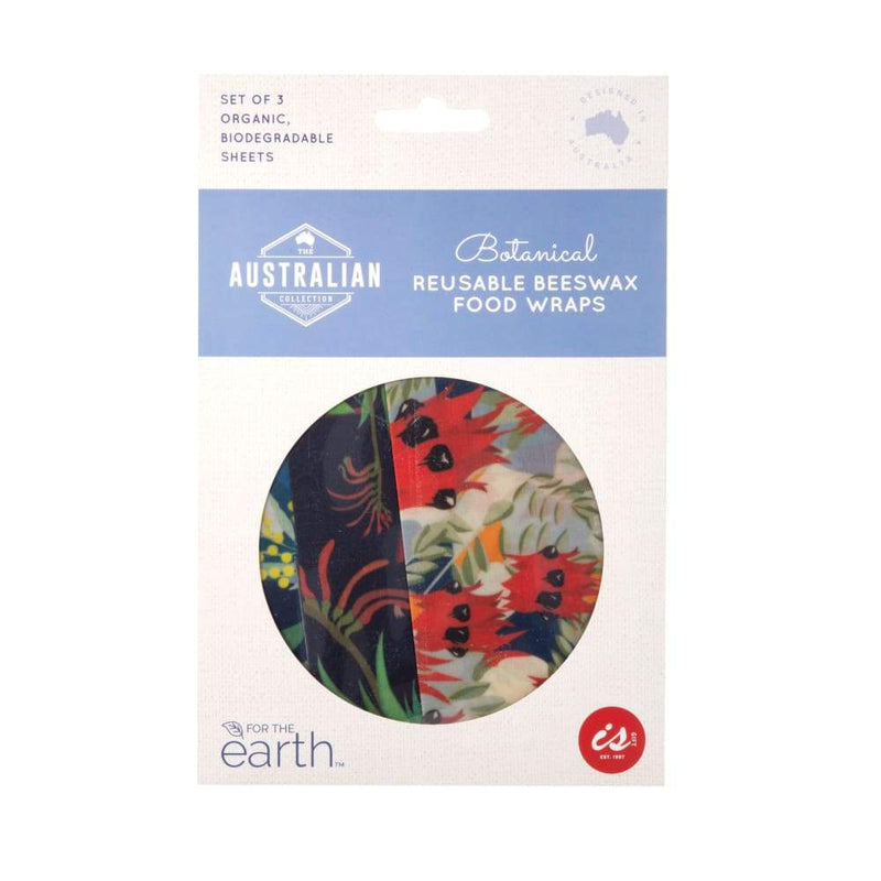 Reusable Beeswax Food Wraps Pack of 3 - Botanical