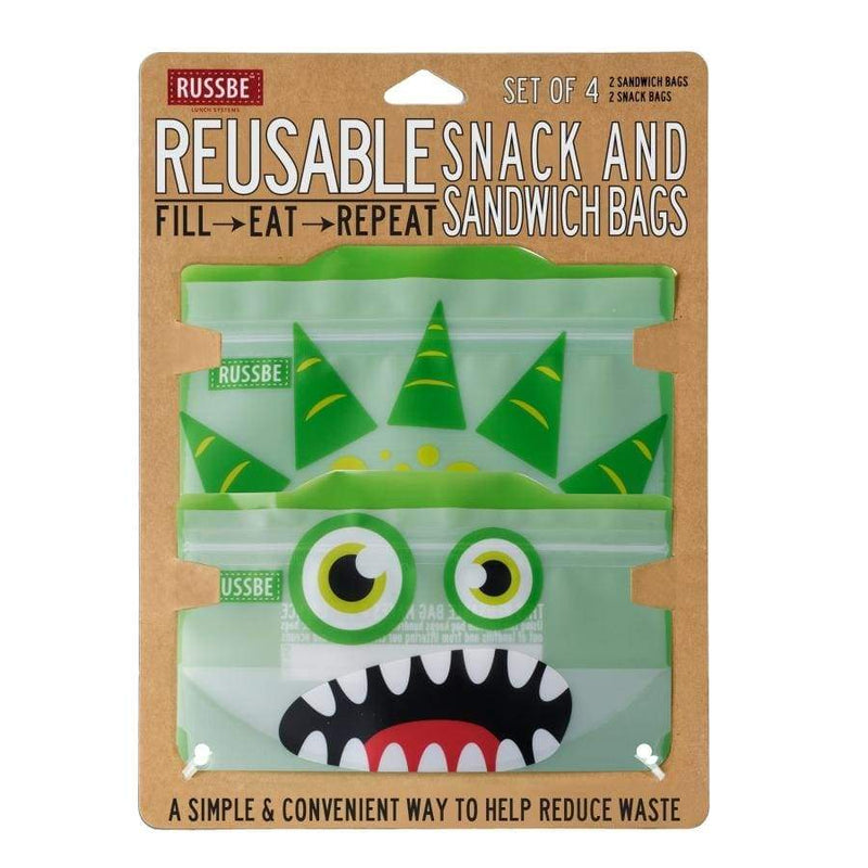 Russbe Reusable Sandwich / Snack Bags 4 pack Green Monster