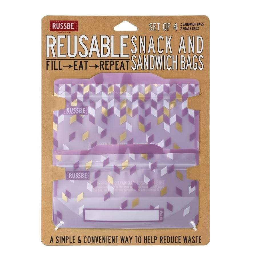 Russbe Reusable Sandwich / Snack Bags 4 pack Metallic Confetti