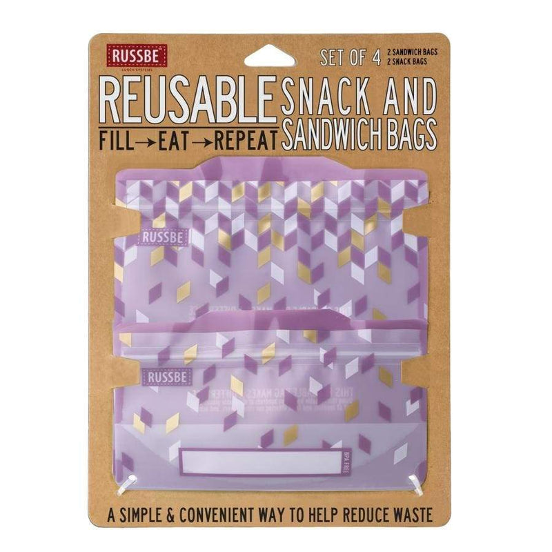 Russbe Reusable Sandwich / Snack Bags 4 pack Metallic Confetti,Reusable Snack Bags, Russbe - Yum Yum Store