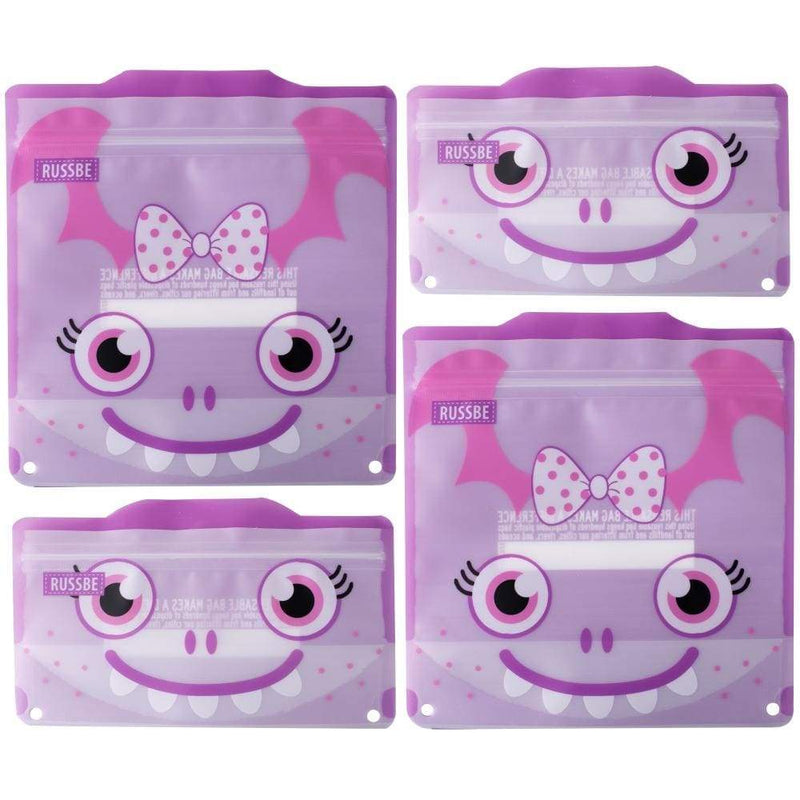 Russbe Reusable Sandwich / Snack Bags 4 pack Purple Monster