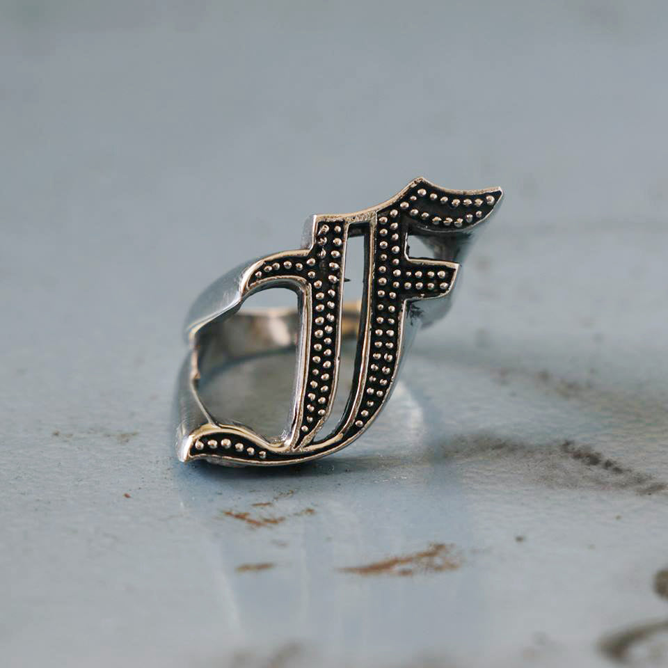 5cbea54dd6109c ... F Biker Ring gothic A-Z silver skull alphabet Initial Letters PUNK Old  english ...