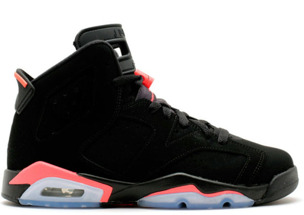 AIR JORDAN RETRO 6 BLACK/ INFARED GS BIG KIDS