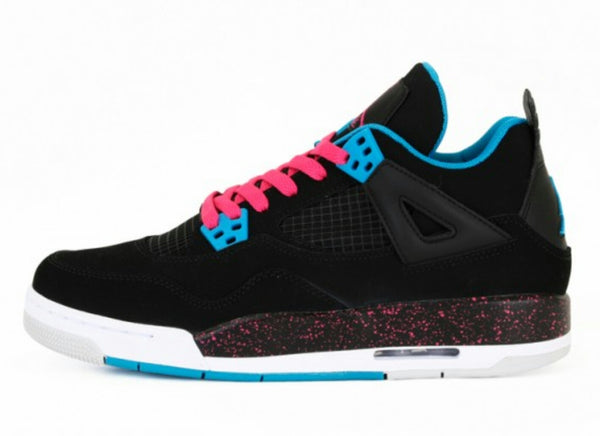 AIR JORDAN RETRO 4 BLACK DYNAMIC BLUE VIVID PINK