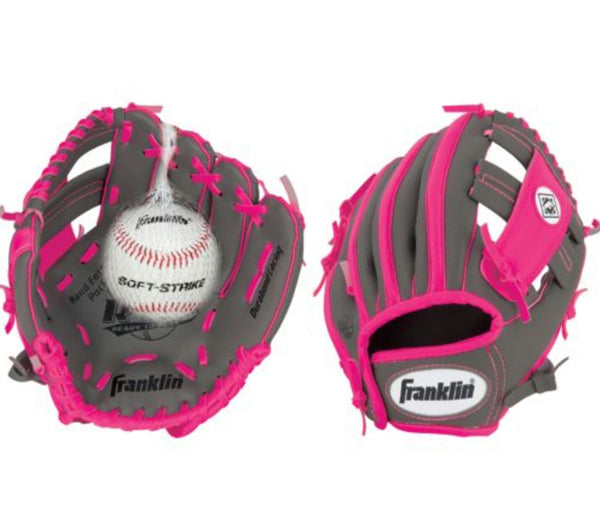 "PINK FRANKLIN TEE BALL 10.5"" LEFT HAND GLOVE FOR RIGHT HAND THROWER"
