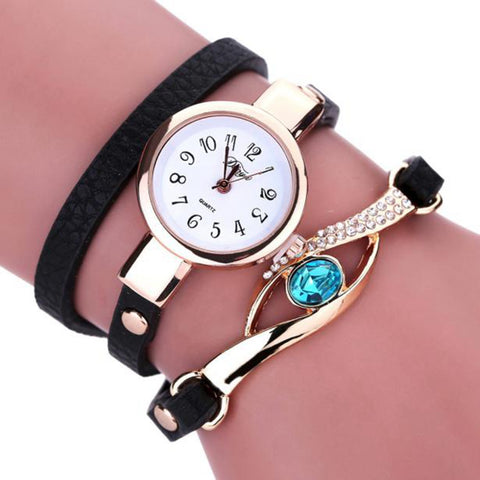 Quartz Watch With Leather Strap Bracelet