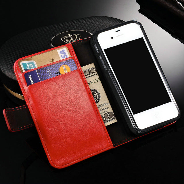iPhone 4 Flip Wallet PU Leather Case