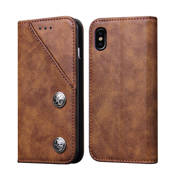 iPhone X Cover Magnetic Retro PU Leather Case