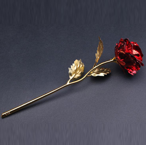 24K Gold Plated Rose With Custom Name On Stem For Valentine's Day