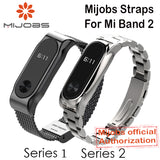 Mijobs Metal Strap For Xiaomi Mi Band 2 Straps Screwless Stainless Steel Bracelet Smart Band Replace Accessories For Mi Band 2