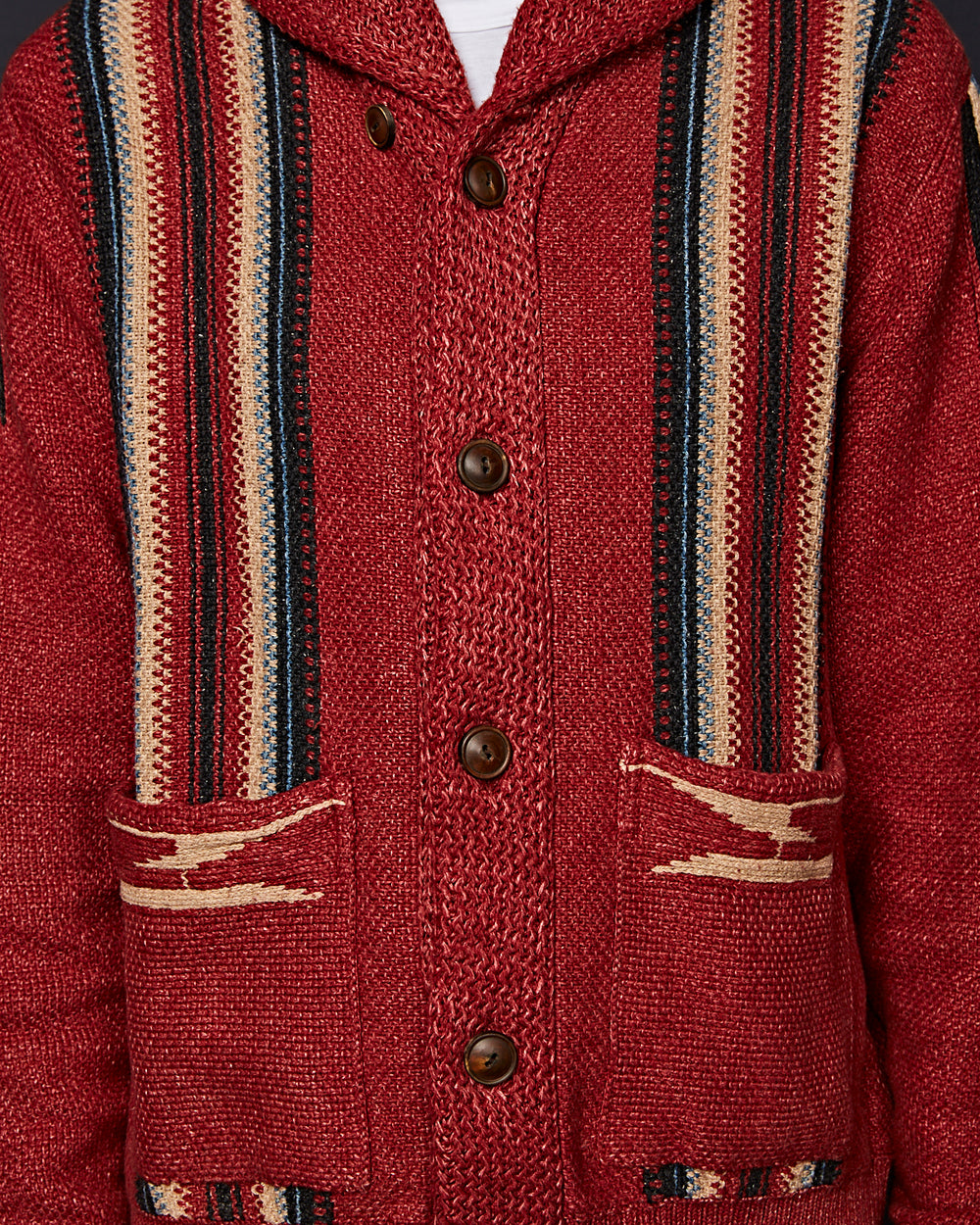 SHAWL COLLAR SWEATER RED