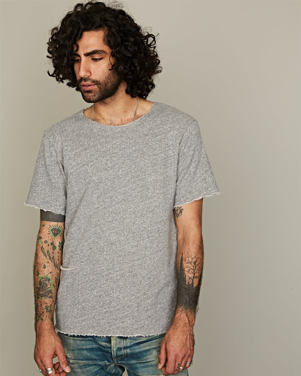 S/S SWEAT CUT OFF GREY