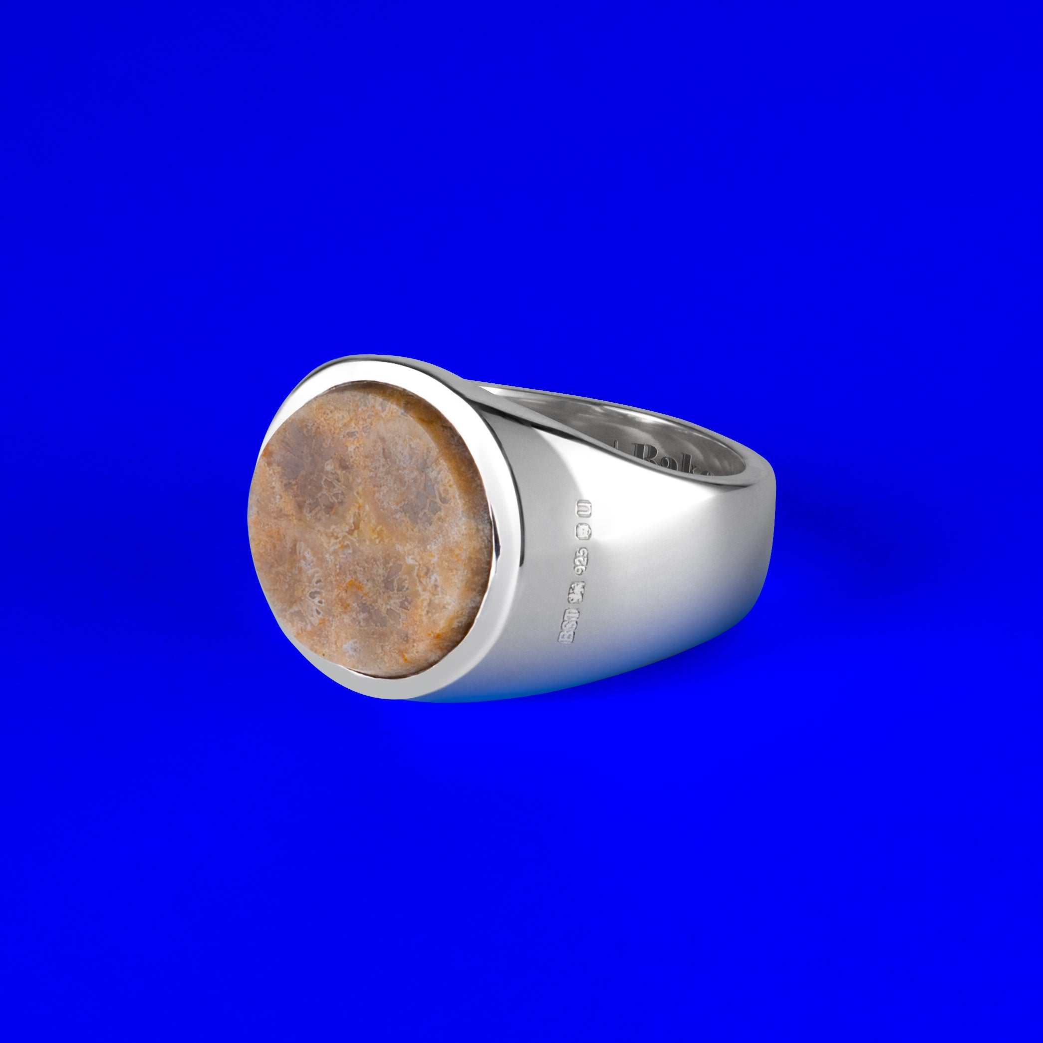 925 Sterling Silver Rounded Signet Ring