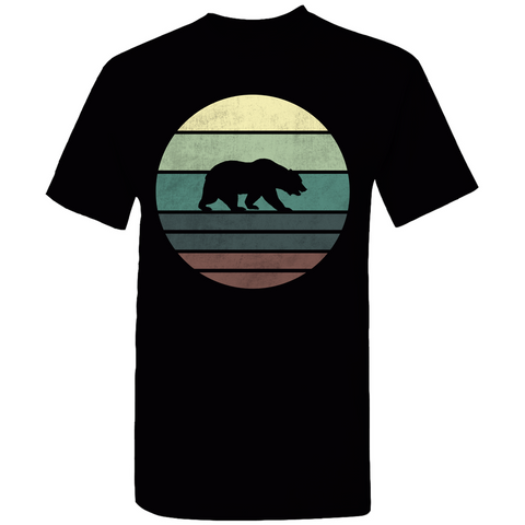 Bear Retro Sunset Silhouette T-Shirt
