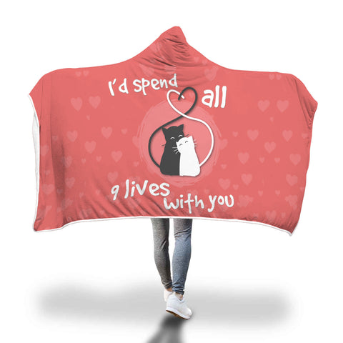 9 Lives Cat Hooded Blanket
