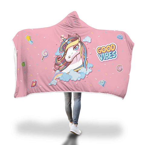 Unicorn Good Vibes Hooded Blanket - Mix Web Shop