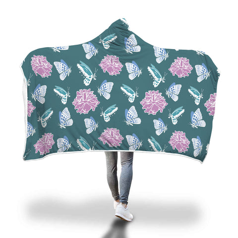 Blue Butterflies Hooded Blanket - Mix Web Shop