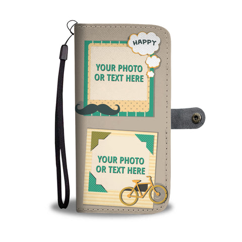 Happy 4 Photos Personalized Phone Case Wallet