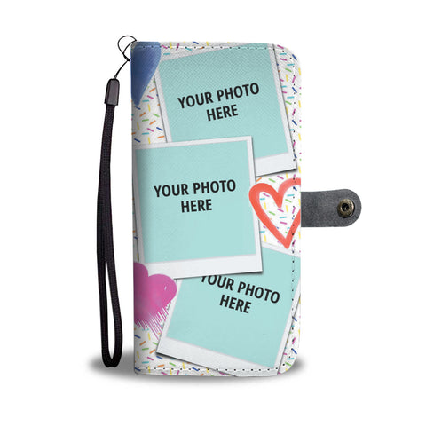 Hearts 6 Photos Personalized Wallet Phone Case