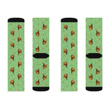 Custom Dog Face Socks - Green