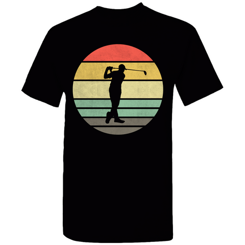 Golfer Retro Sunset Silhouette T-Shirt