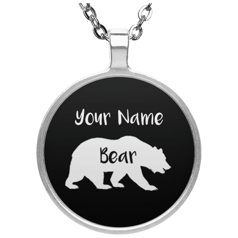 Personalized Bear Circle Necklace