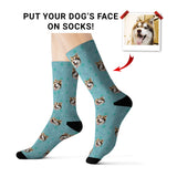 Custom Dog Face Socks - Blue