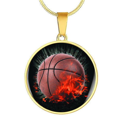 Basketball On Fire Gold Pendant Necklace - Mix Web Shop