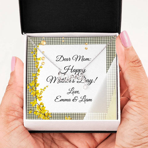 Scripted Love Necklace with Custom Yellow Floral Message Card