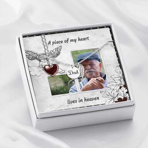Dad Rememberance Necklace With Custom Message Card