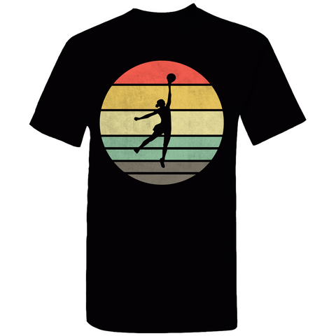 Basketball Woman Retro Sunset T-Shirt