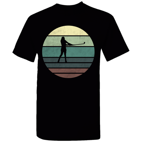 Golfing Woman Retro Sunset T-Shirt