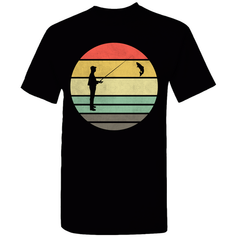 Fishing Retro Sunset Silhouette T-Shirt