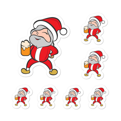 Santa Claus Eggnog Christmas Santa Kiss Cut Stickers Phone Laptop Hydroflask