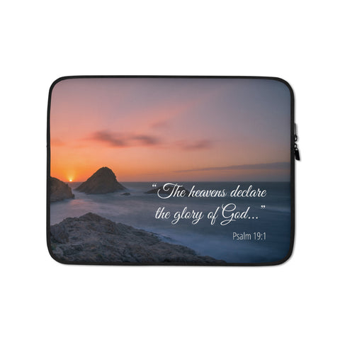 "Christian Bible Verse Laptop Sleeve, 13"" or 15"" - The Heavens Declare the Glory of God, Psalm 19:1"