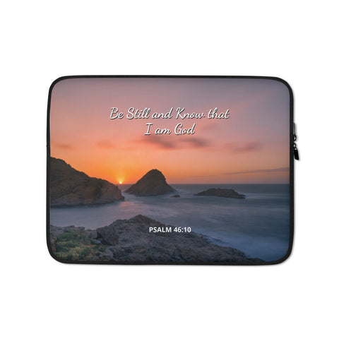 Christian Bible Verse Laptop Sleeve - Be Still and Know that I am God