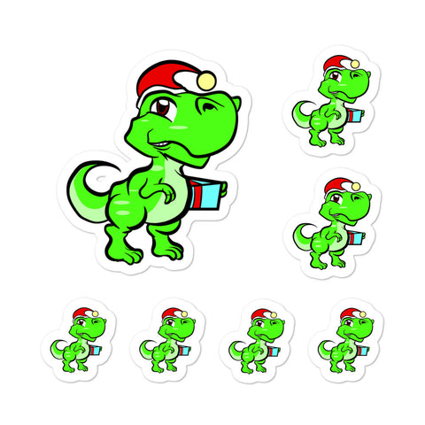 Trex Dinosaur Christmas Santa Kiss Cut Stickers Phone Laptop Hydroflask