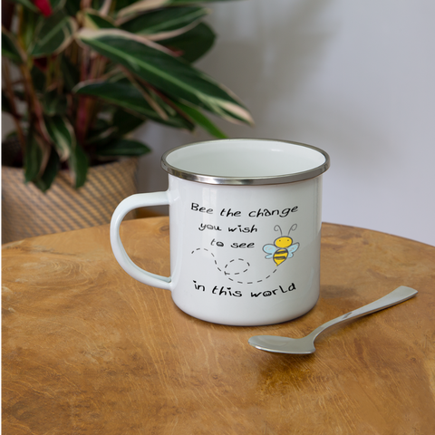 Bee The Change You Wish To See In This World Enamel Mug - white