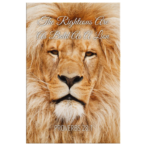 Christian Bible Verse Wall Art - Righteous Bold Lion