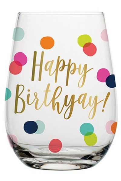 HAPPY BDAY DOTS - STEMLESS WINE