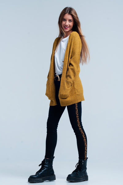 Mustard Cardigan With Golden Buttons