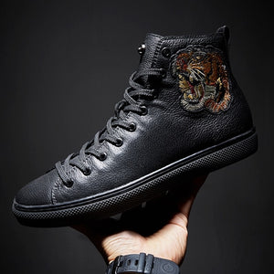 High Top Embroidery Leather Sneakers - Holjaz Chic Boutique